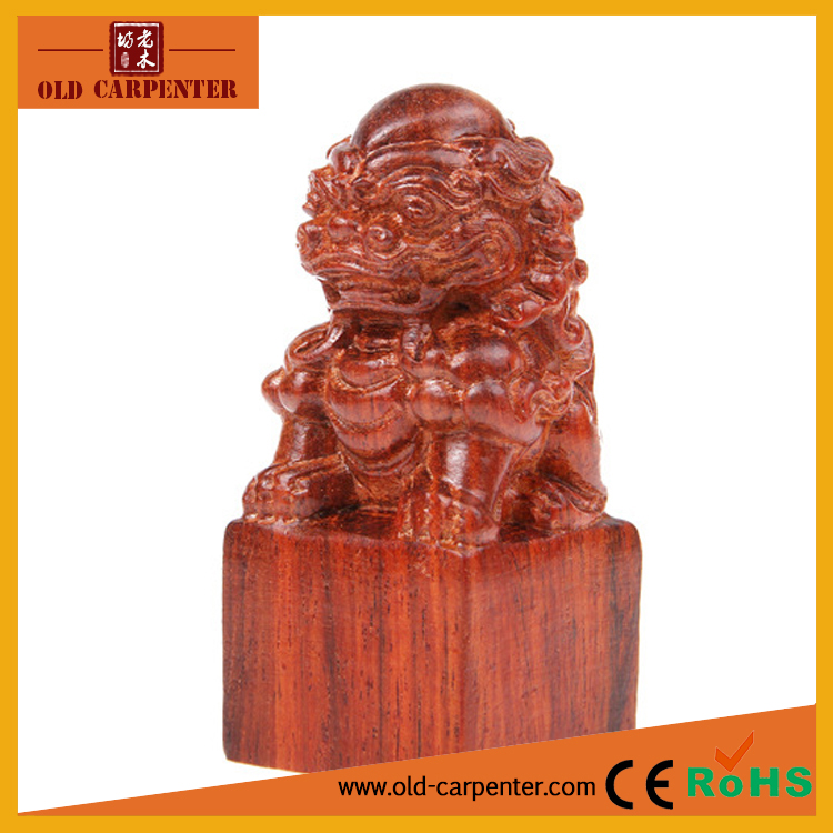 Top Sale Lion Seal wood ornament 3D animals carving craft