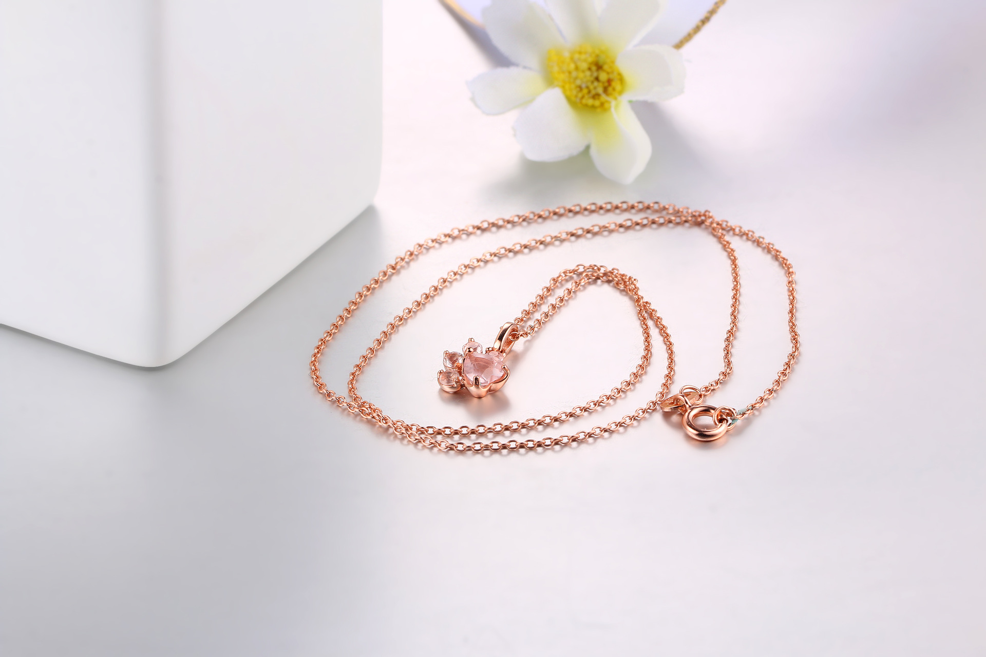 Natural rose quartz stone necklace dog paw pendant necklace