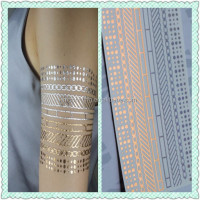Custom Fasionable Body Gold Foil Metallic Temporary Tattoo
