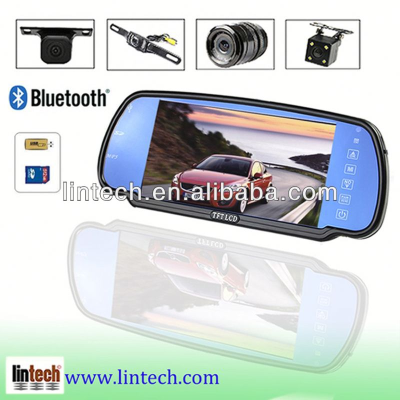 2013 the latest 7 inch LCD car bluetooth rearview mirror with fm transmitter for universal car LM-070M-A