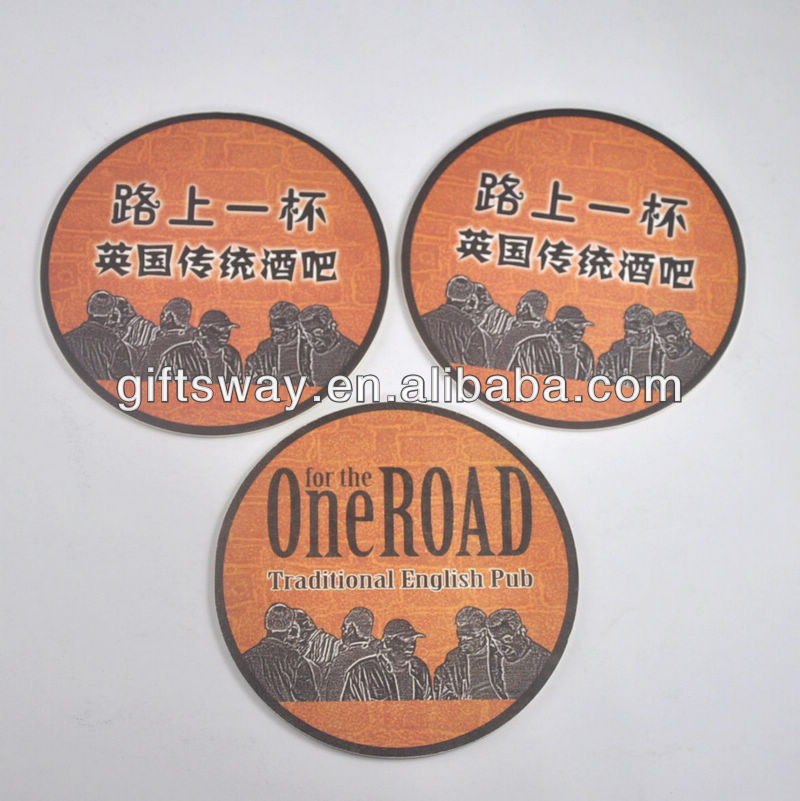 Round shape coaster,cardboard paper coaster,absorbent paper beer mats