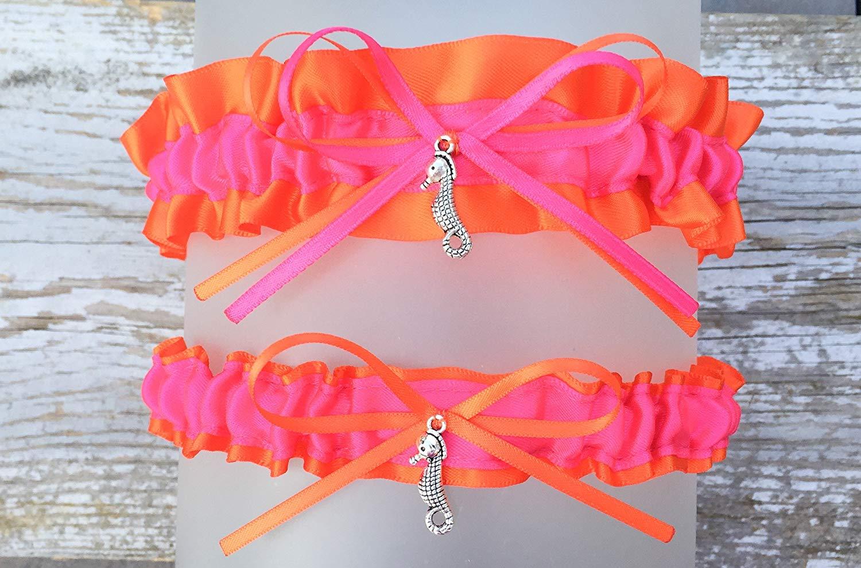 cba428ea6a1 Get Quotations · Bright Orange Hot Pink Satin Keepsake Or Garter Set - Pick  A Charm