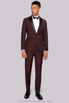 Latest Design Mens Wedding Suit Tuxedo Formal Groom Suits Red