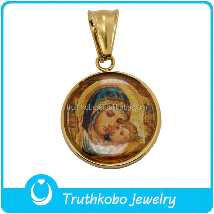 Factory Wholesale Religious Necklace Virgin Mary Pendant Stainless Steel Epoxy Enamel Pendant 14K Gold Plated Necklace Charm