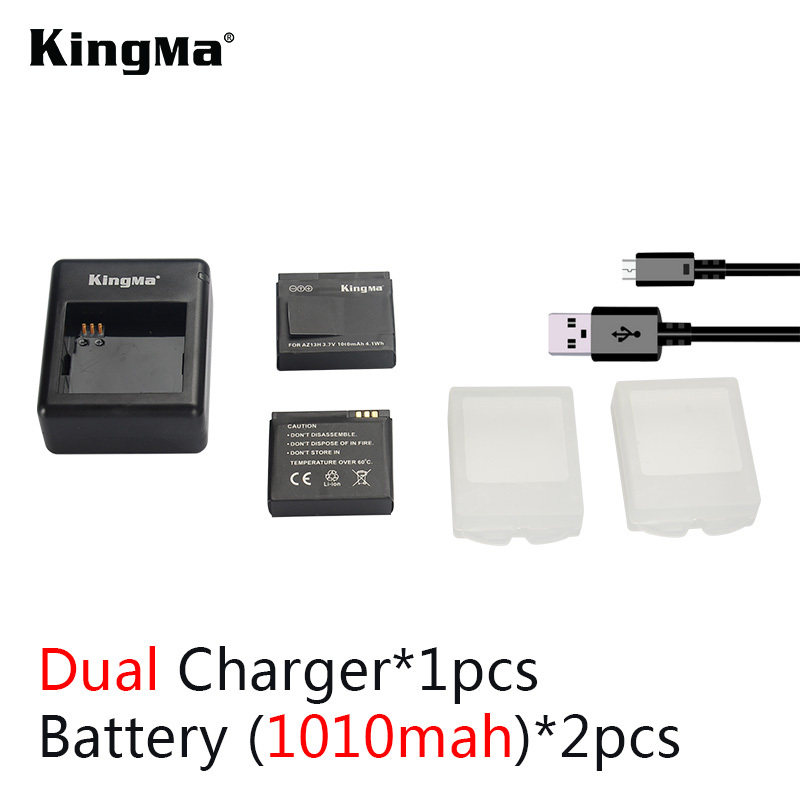 KingMa NEW Arrivel Kit Charging For Two Pieces XiaoYi Battery Charger +2* 1010mAH Battery For XiaoYi Camera Free Shipping