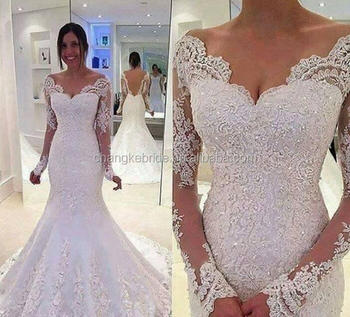 Luxury Mermaid V Neckline Sequin White Color Brazilian Long Sleeve Lace Wedding Dresses Online