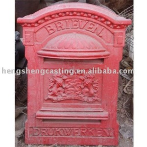 Alibaba china mailbox cast aluminum red mailbox/antique metal letter box
