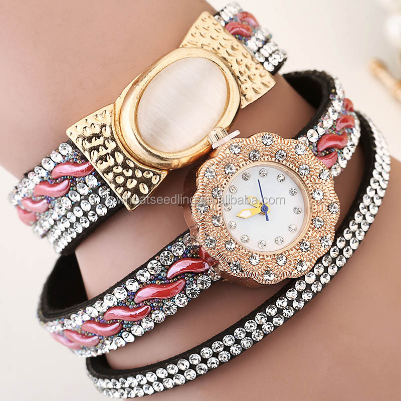 latest design hot good cat eye crystal small dial vintage retro wrap bracelet watch