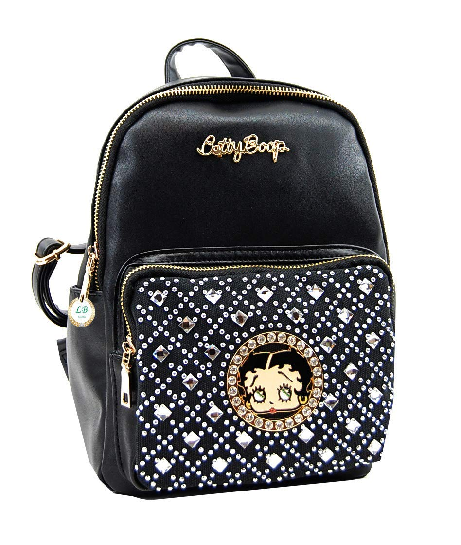 2fb996c1ae Get Quotations · Betty Boop 11 inches Height Small Backpack with  Rhinestones (Black)