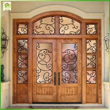 Teak raw wood main door design entrance doors with iron for Main door grill design