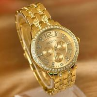 2017 Geneva Men Full Steel Gold watches luxury brand Women Rhinestone watches Men Casual Analog Quartz wristwatches MW-4