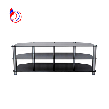 Black tempered glass tv stand tall Entertainment unit corner tv stand