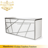 Commerical reception front LED lighted stainless steel bar counter for sale