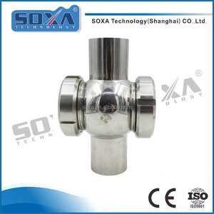 Stainless steel sanitary cross sight glass with union