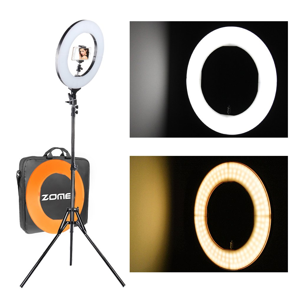 """ZOMEi 18""""Dimmable LED Ring Light, 5500k Output Youtube Video and Makeup Ring Light with Stand, Plastic Filter With Portable Carrying Bag"""
