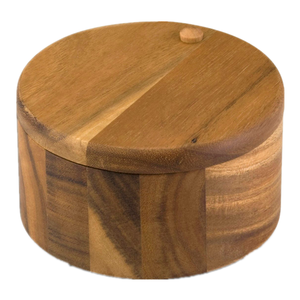 Wooden round 2-compartment salt box