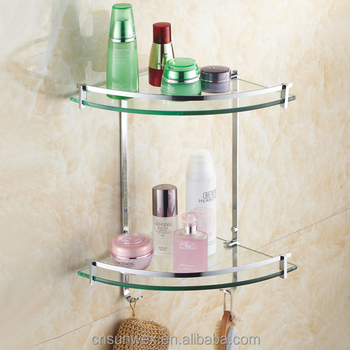 Dual Tiers Bathroom Glass Corner Shelf Triangle Glass Bathroom Shelf ...
