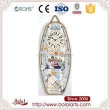 Wholesale ship shaped home decor hanging photo frame blue modern wall clock
