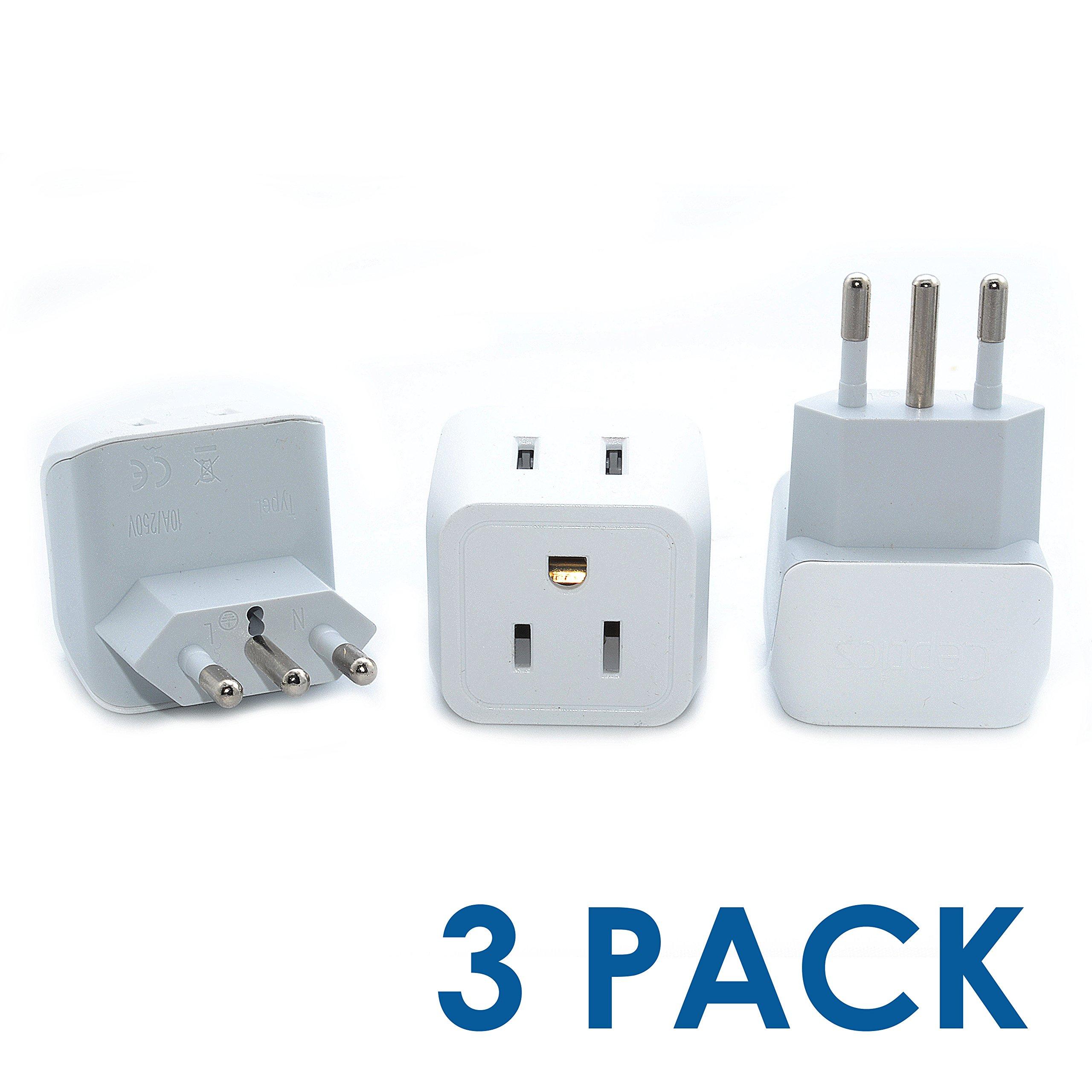 ACA1007 Italy to USA Travel Plug Adapter; Adapts an Italy CEI 23-50 Device into a USA NEMA 5-15 Inlet