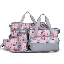 New 5pcs set New Baby Diaper Bag Large Fashion Nappy Bags For Mommy Multifunctional Maternity Stroller