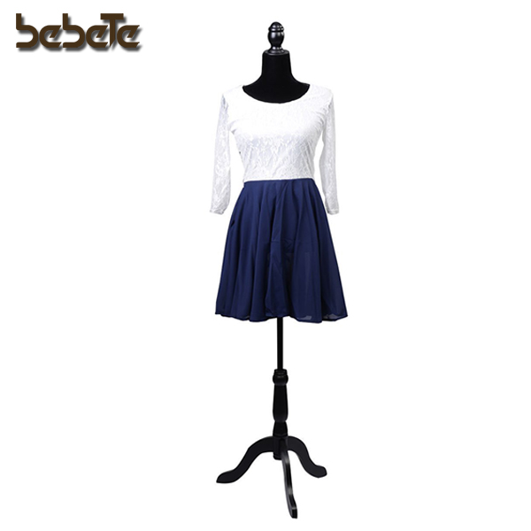 Female Mannequin Torso Dress Form Display Whith Black Tripod Stand (Black)