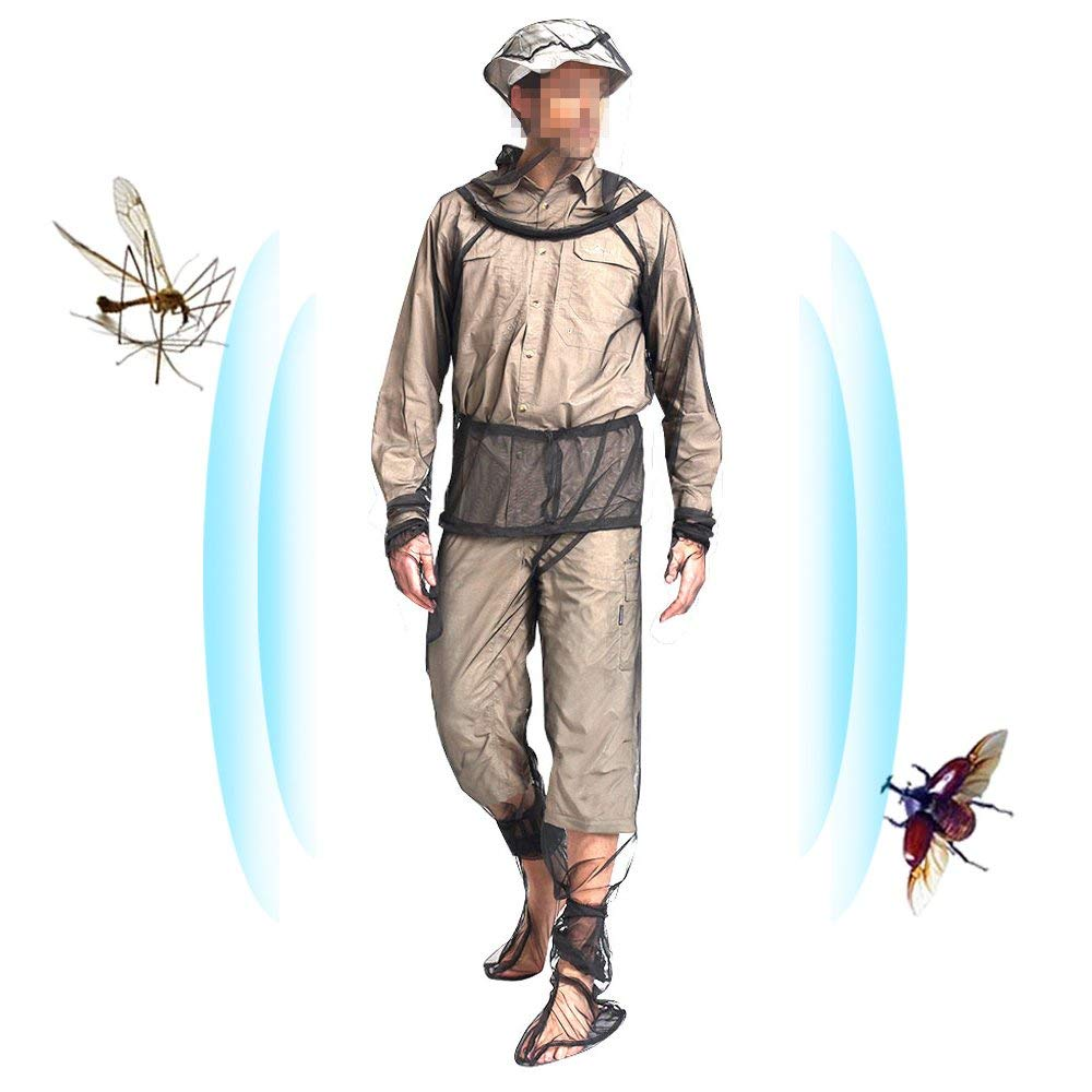 Mosquito Suit - 4 Pcs Unisex Bug Repellent Clothing Including Anti-mosquito Jacket with Hood, Bug Pants 1 Pair Socks 1 Pair Mitts Free Carry Pouch Fits for Outdoor Hunting Camping Fishing-M