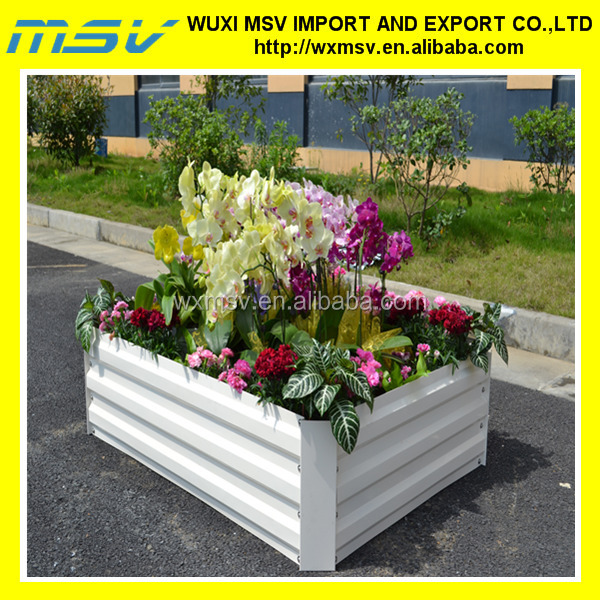 Corrugated Galvanized Planting Planter. Raised Garden Beds Display