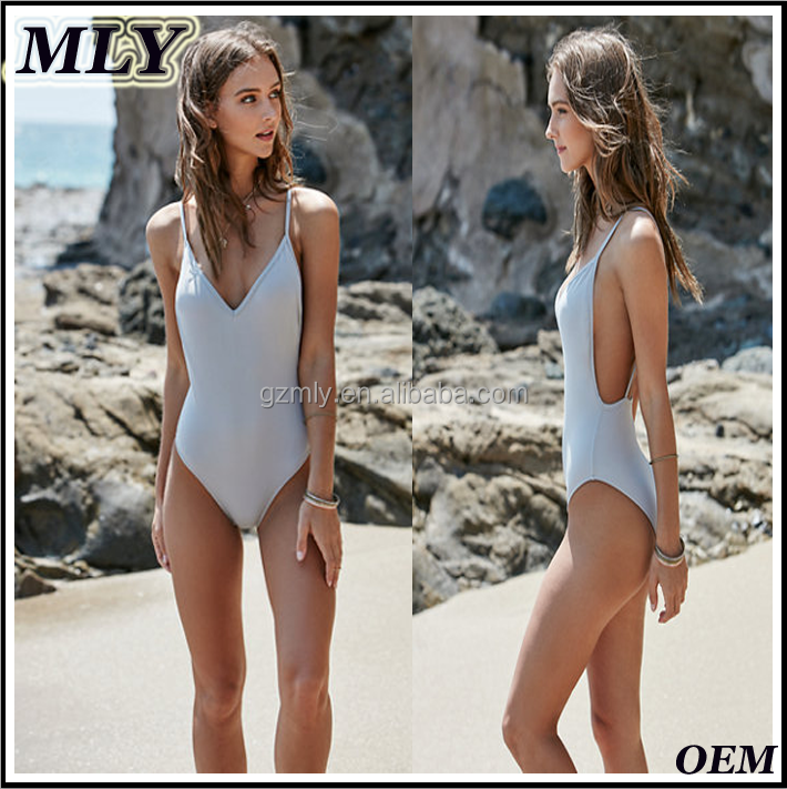 2016 Sexy Bikini Women OEM Low Back One Piece Monoki Thong Swimsuit