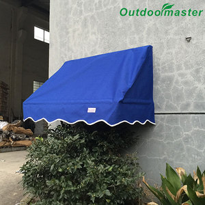 Patio 4x2FT Manual Sun Cover Blue Folding Window Awning