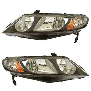 2006-2011 Honda Civic Hybrid & 2009-2011 Civic DX EX GX LX Si 4-Door Sedan Headlight Headlamp Composite Halogen Front Head Light Lamp Set Pair Left Driver And Right Passenger Side (2006 06 2007 07 2008 08 2009 09 2010 10 2011 11)