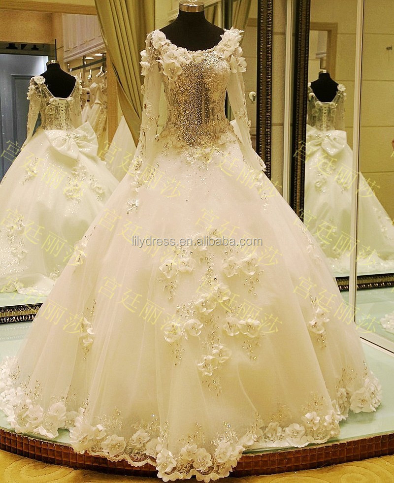 Ball Gown Bling Bling Floor Length Custom Made Formal Bridal Gowns Design latest HS321 long sleeve beaded wedding gowns