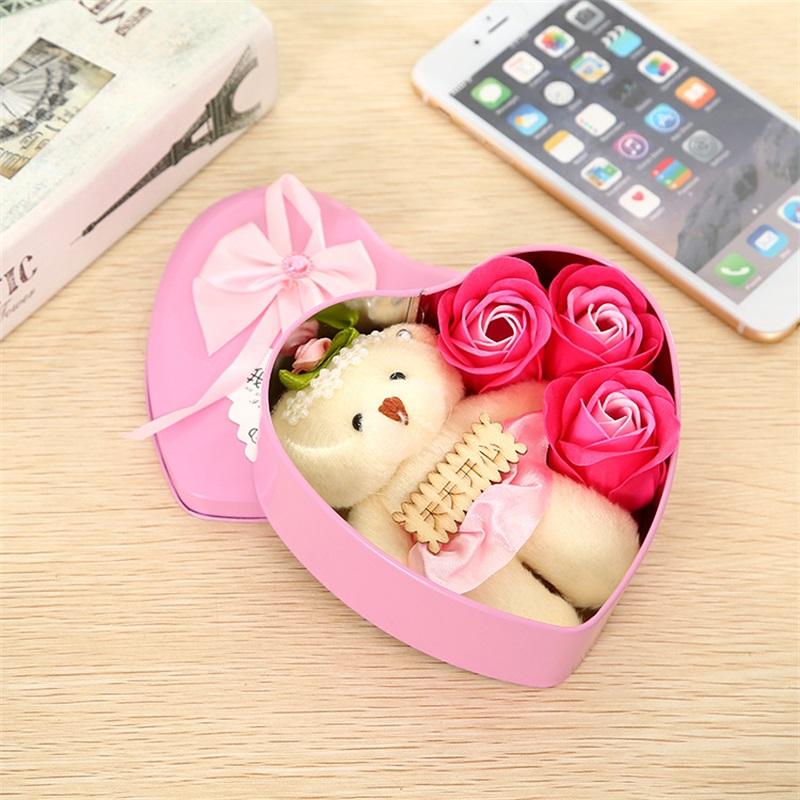 Cute Small Mini Teddy Bear Rose Box Stuffed Animal Doll
