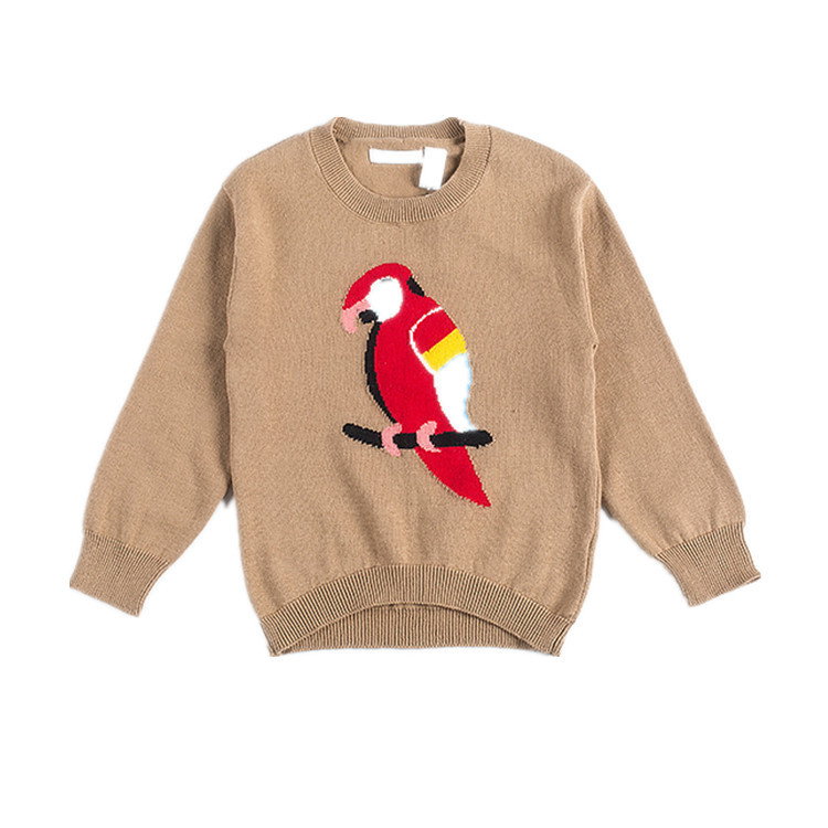 European Fashion Baby Boys Girls Knitted Parrot Bird Jacquard Round Neck Pullover Sweater Kids Winter Clothes