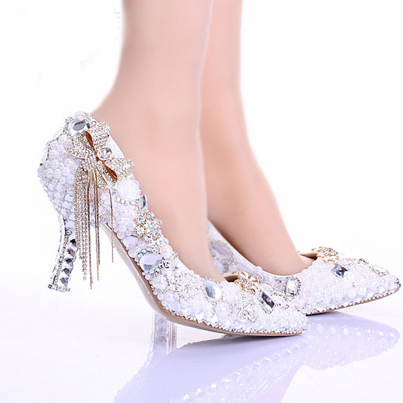 Get Quotations · White Lace Flower Bridal Dress Shoes Pointed Toe High Heels  Ankle Straps Prom Party Shoes 3 0fa06e4ef149