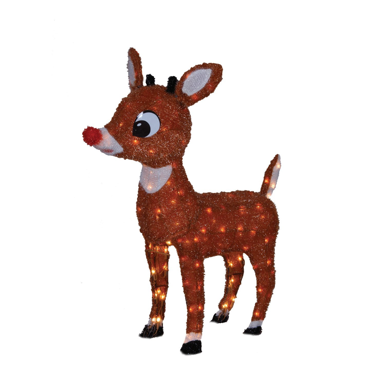 productworks 26 inch pre lit rudolph the red nosed reindeer soft tinsel christmas - Lighted Deer Christmas Lawn Ornaments