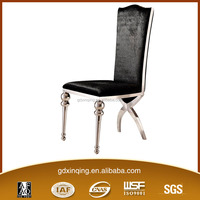 modern design dining room black velvet top chair and stainless steel frame furniture dining table chair B304-1