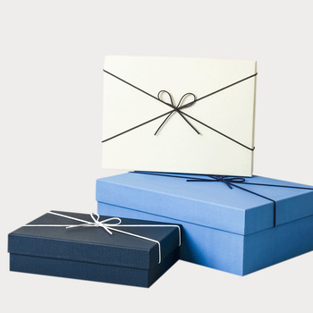 Customized premium classic simple bowknot ribbon top removable base gift box for Thanksgiving Christmas gift package box