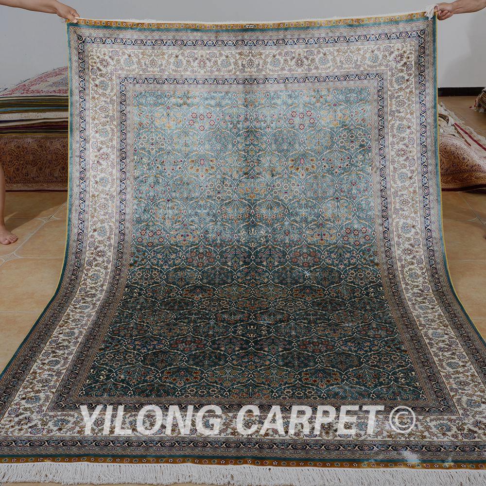yilong 55 x8 turco vintage lago verde anudada mano alfombra persa alfombras de seda para - Alfombras Vintage