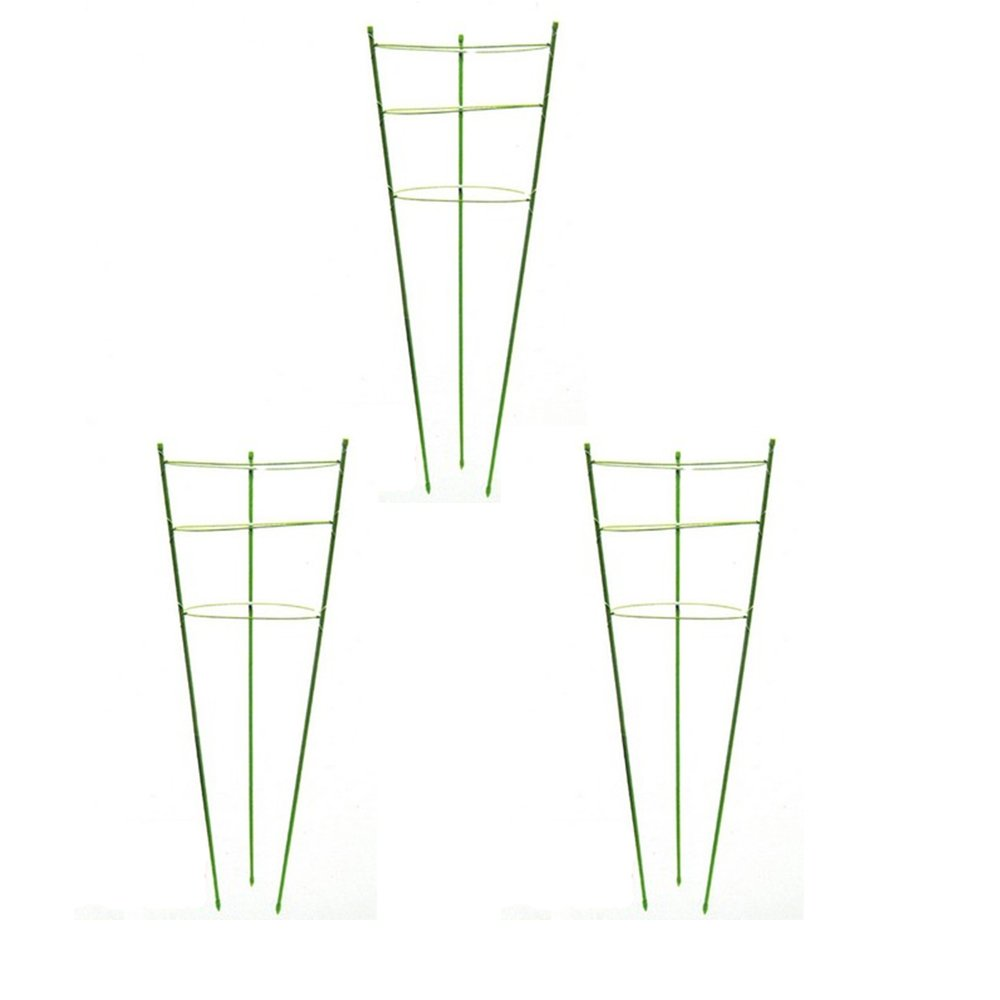 Tomato Plant Cage Plant Support Ring Garden Trellis Flower Iron Support Climbing Plant Grow Cage Green, Set of 3 (3pack-24'')