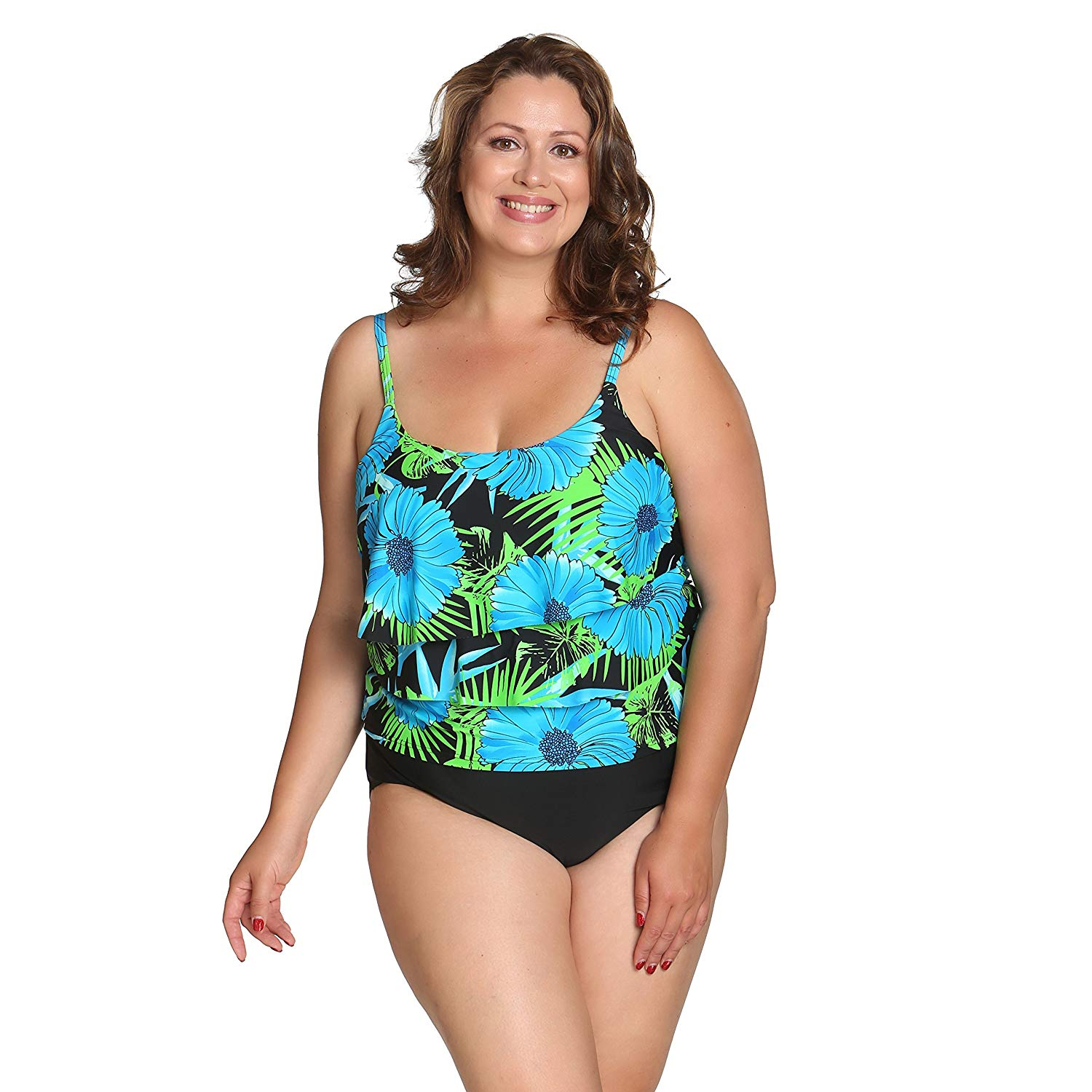 046d12eeea817 Get Quotations · Island Pearls Island World Plus Size Women's Swimsuit  Solid Floral Design Three Tiered One Piece Swimsuit