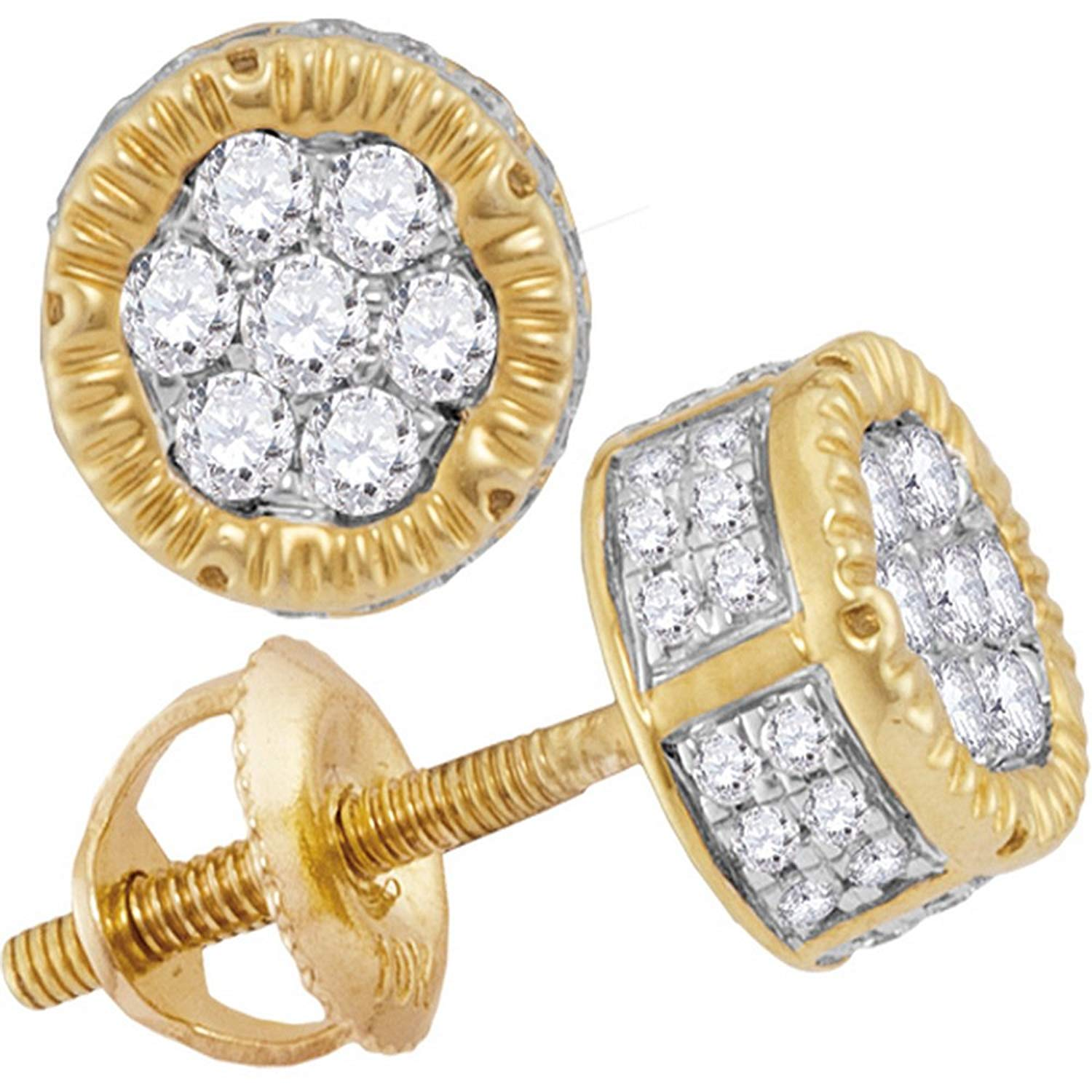 Earrings, Studs Mens Ladies 18k Gold Filled 0.15 Ctw Lab Diamond Screw Back Stud Earrings 8mm