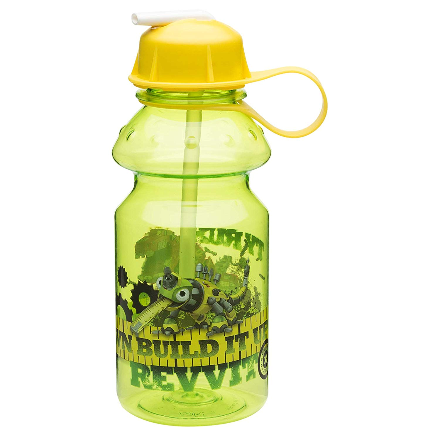 bf3c903f54 Get Quotations · Zak Designs Dinotrux 14 oz. Water Bottle with Flip Straw,  Reptool Revvit