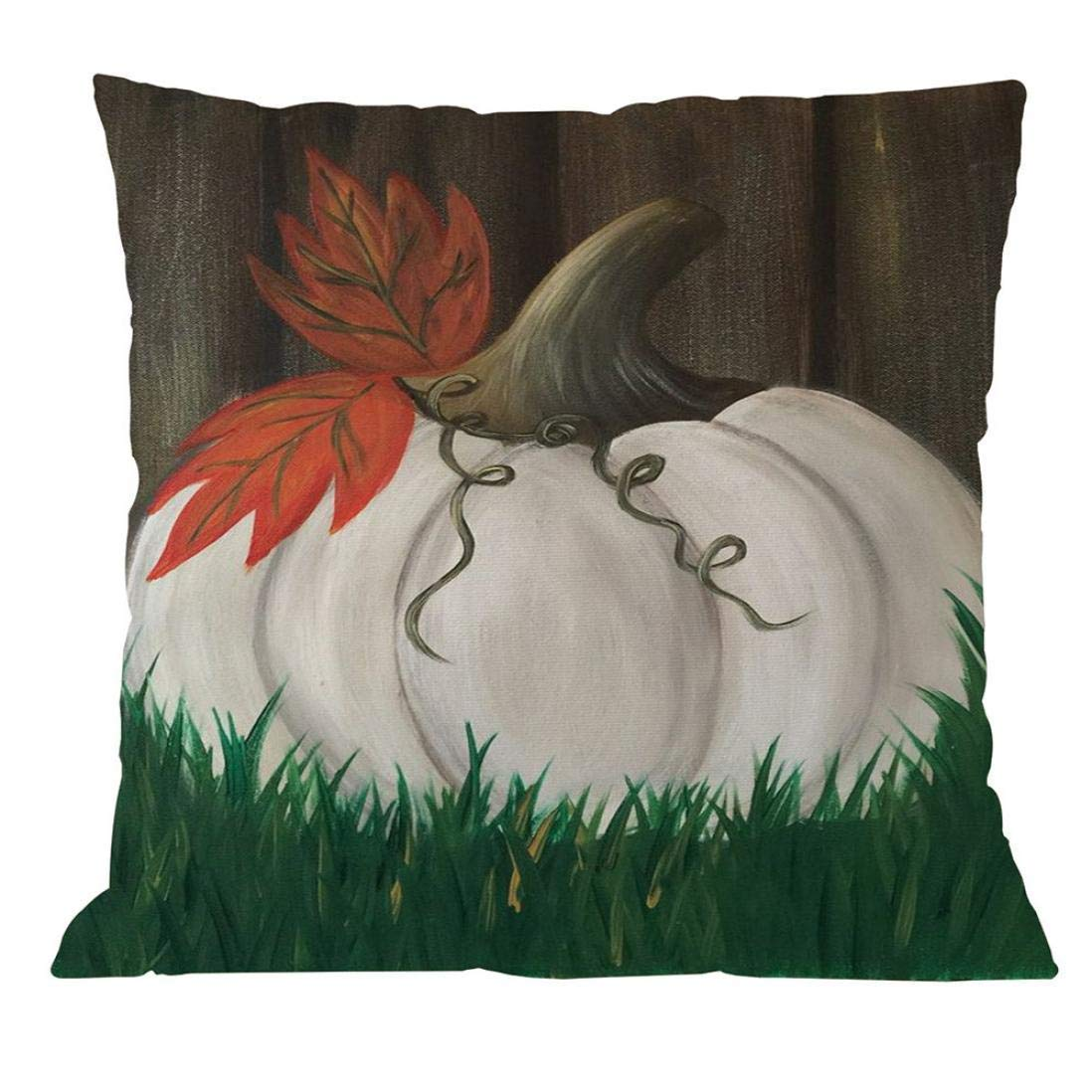 "Pillow Case, Shybuy Halloween Pumpkin Pattern Square Cotton Blend Sofa Home Decorative Throw Pillow Case Cushion Cover (I, 18""x18"")"