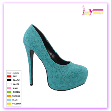 Blue Milan fashion week Women Round Toe Platform Pumps Stiletto High Heels Shoes