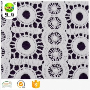 100% cotton yarn chemical lace embroidery fabric with hole