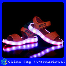 LED Rechargeable Waterproof 7 Colors Flashing Children Sandals Summer LED Sandals