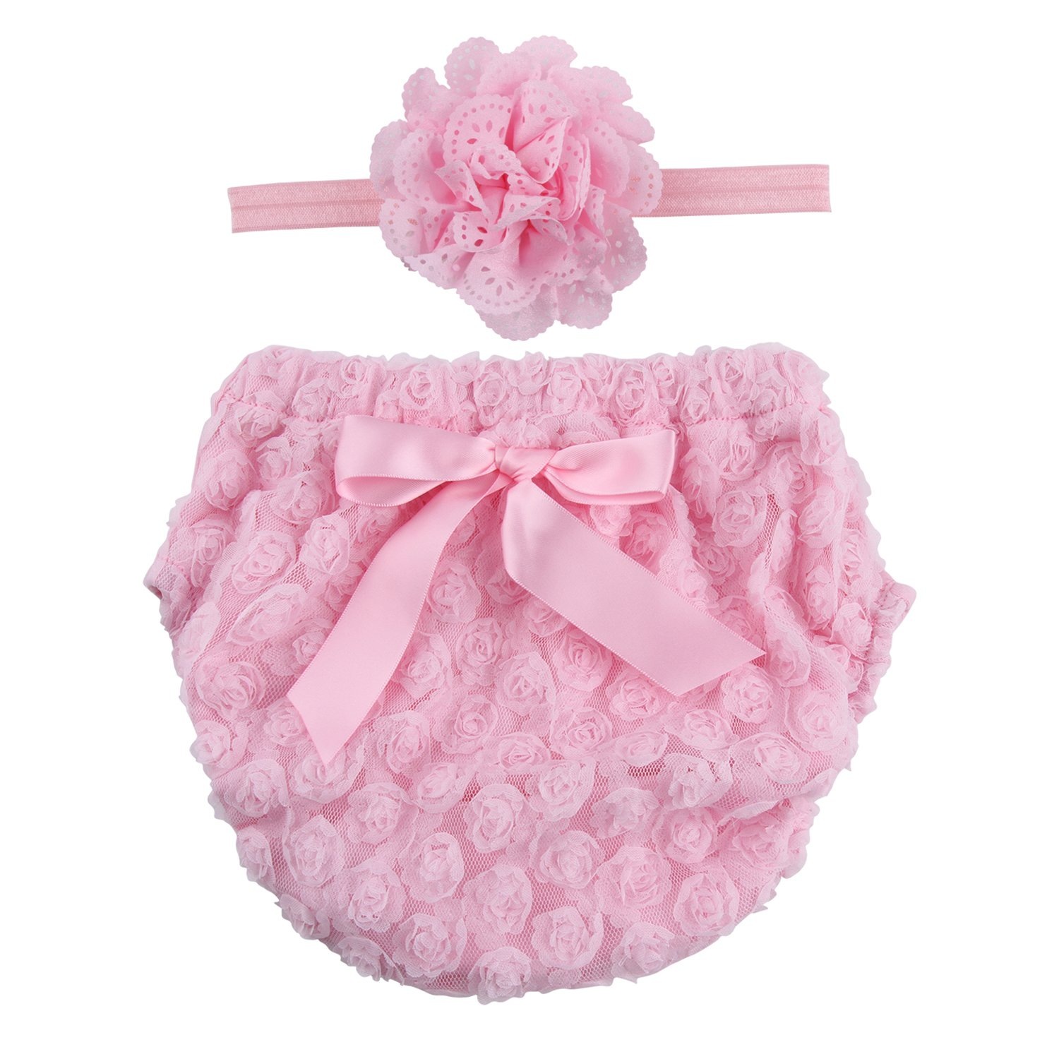 d445e362e8f7e Get Quotations · ICObuty Rose Ruffle Bloomer Diaper Cover and A Flower  Headband for Baby Girls Toddlers