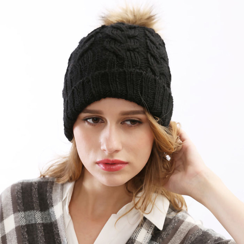 Get Quotations · 2015 New Fashion Fall Wool Paisley Gorros Knitted Hat For  Women Rabbit Fur Ball Decorate Winter 214db907e58