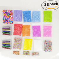 28Pack Flat/Foam Beads/Slices/Glitter Filler For Clear Slime Box Toys For Kids Lizun Slime DIY Supplies Accessories Set