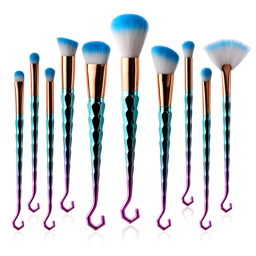 Ilobe Quality Professional Makeup Tools 10pcs Fan Brush Swing